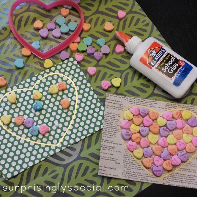 conversation heart mosaics