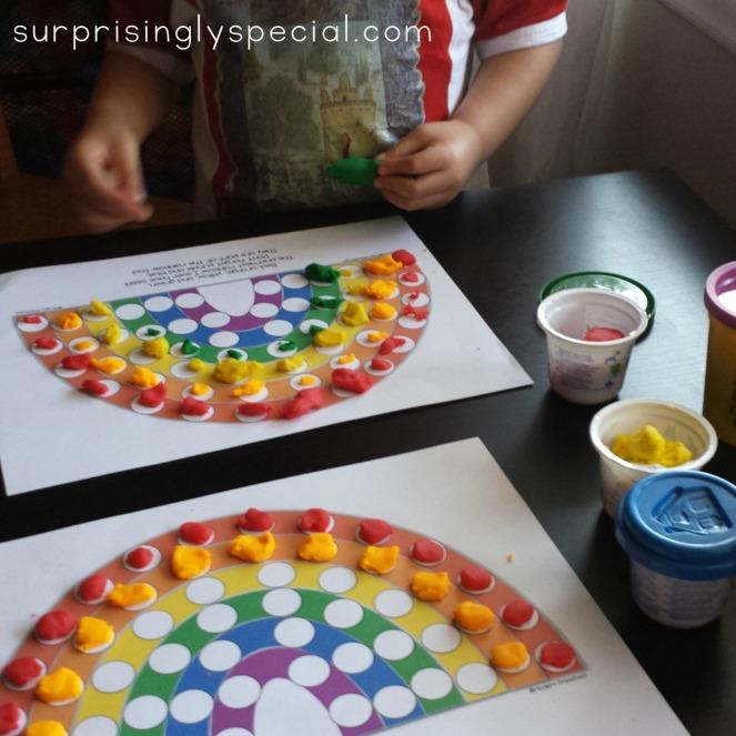 rainbow play dough mats